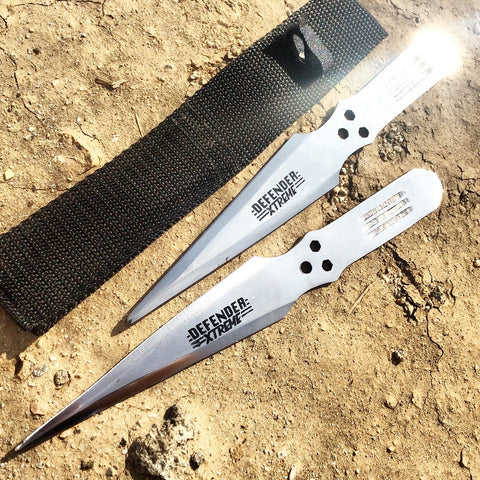 Defender Set of 2 Throwing Knives Perfect Point With Sheath Sharp