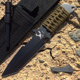 "7"" Hunting Knife with Fire Starter Black Tactical Blade Full Tang Blade New"