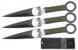 Defender 3pc Throwing Knives Set with a Skull Design & Sheath