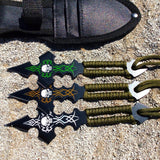 Defender 3pc Set Skull Design & Green String Throwing Knives with Sheath