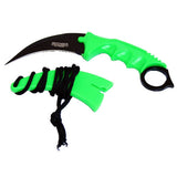 "7.5"" Green Color Black Blade Outdoor Camping Throwing Hunting Knife"