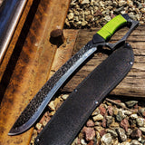 "Defender 17.5"" Full Tang Zombie Z-War Sword with Green Handle & Sheath"