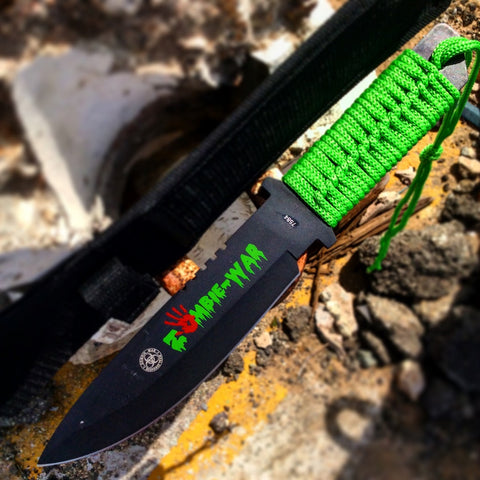 "10.75"" Zombie War Hunting Knife Green Cord Wrapped Handle with Sheath"