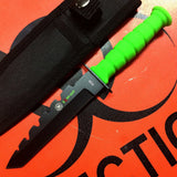 "7.5"" Defender Mini Hunting Tactical Knife Rambo Green with Sheath"