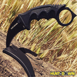 "7.5"" Hunt-Down Black Hunting Tactical Knife with Plastic Sheath and Paracord"