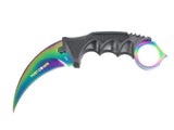"7.5"" Hunt-Down Multi Color Blade Hunting Knife with Plastic Sheath and Paracord"