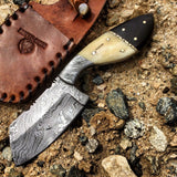 "Hunt-Down 9"" Damascus Blade Horn Handle Hunting Knife with Leather Sheath"