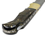 "TheBoneEdge 6.5"" Damascus Folding Knife Lamb Horn Handle Handmade with Sheath"