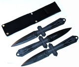 "3 Pc. Set of 10"" Black & Gray Throwing Knives With Sheath"