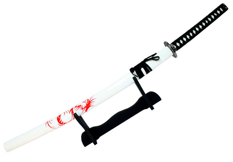 "Defender 40.5"" White Collectible Katana Samurai Sword Ninja with Stand"
