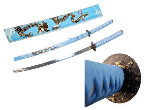 "Defender 40.5"" Sky Blue Collectible Dragon Katana Samurai Sword Ninja"