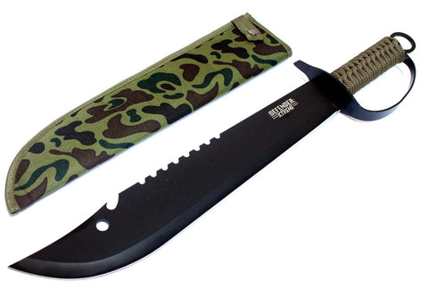 Black Stainless Steel Machete Hunting Sword Camo Sheath Hand Guard Cord Handle !