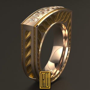 Golden Ring with Seven Diamonds