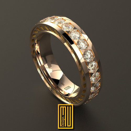 Golden Ring with 25 Diamonds