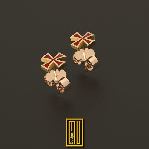 Enameled templar cross earring silver and gold single or set