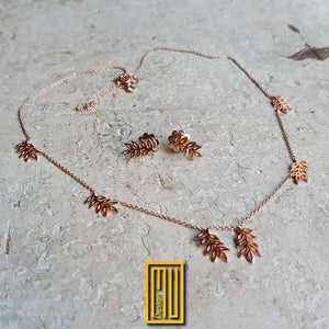Golden Necklace and Earring set With Acacia Leaves