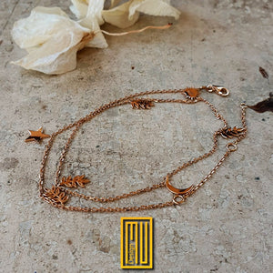 Golden Chain Necklace and Bracelet with Acacia Leaves Sun Moon and Star