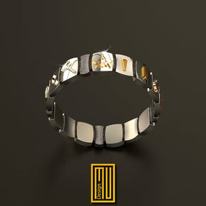 Masonic Bracelet 925K Sterling Silver and 14k Gold