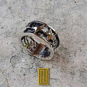 Order of Eastern Star Ring 10mm Thickness Sterling Silver or Gold