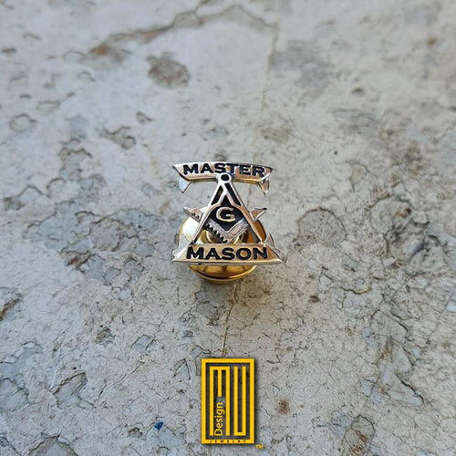 Master Mason Lapel Pin with G 925K Sterling Silver