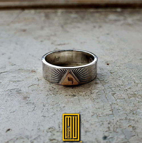 Ring for AASR 14th degree with Hebrew yod in 14k gold triangle