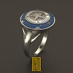 Ring For OES Sisters Gold or Sterling Silver with Lapis Lazuli