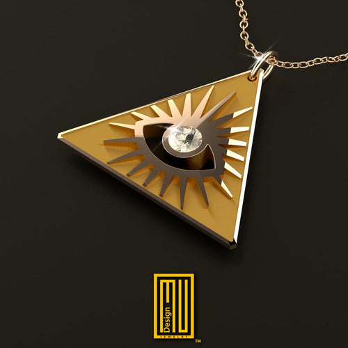 Masonic Necklace All Seeing Eye In The Golden Triangle With Real Diamond