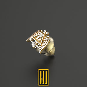 A.A.S.R 32. Degree Lapel Pin Unique Design for Men 14k Rose Gold with Real Diamond