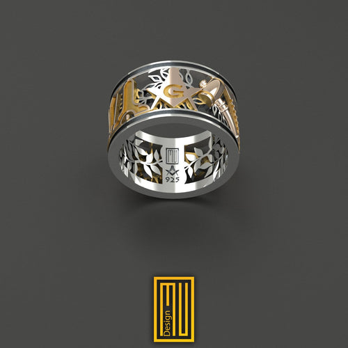 Masonic Ring with Gold Tools S&C With G