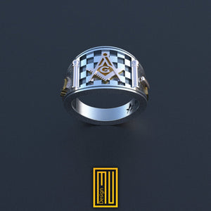 Band style Masonic Ring With 14k Rose Gold, Bronze or Silver tools