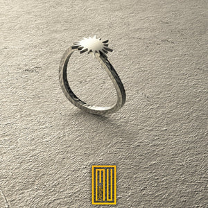 New Edition Moon and Sun Handmade Hammered Ring,  Unique Design for Women 18k Rose or White Gold