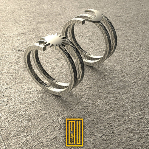 Silver body Moon and Sun Handmade Hammered Ring