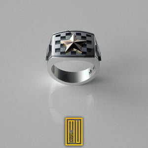 Masonic Tile Ring With Golden Star