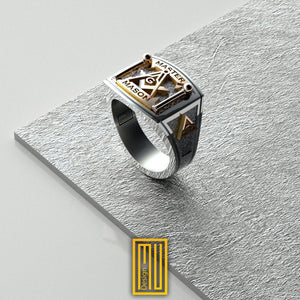 Masonic Ring Golden Tools With Diamond