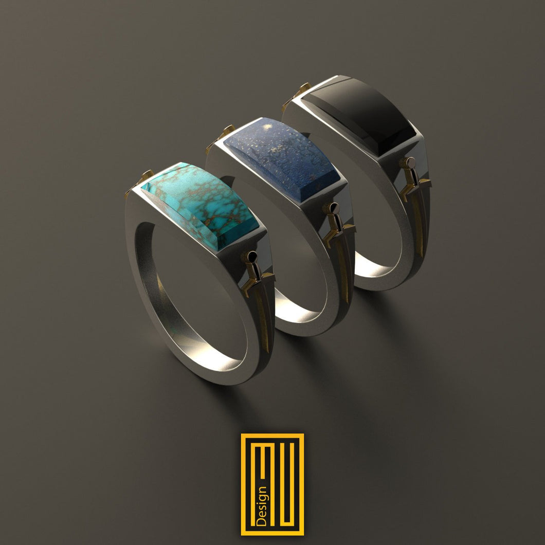 Ring For Knights with 14k Rose Gold Swords on Side And Gemstone