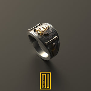 Band style Masonic Ring With Skull on S&C
