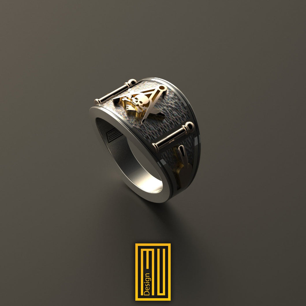 Cigar Band style Masonic Ring With Skull On S&C
