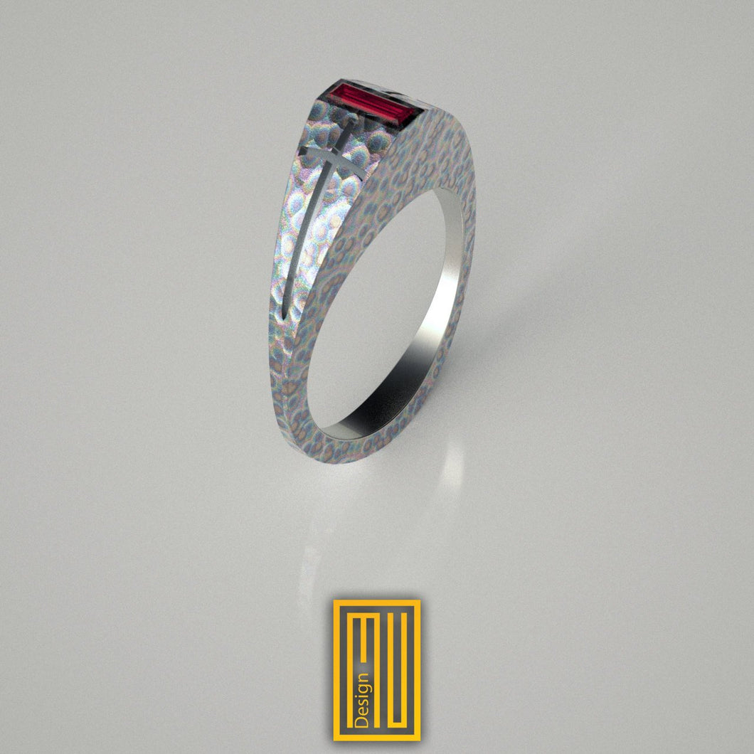 Ring For Knights with Engraved Swords on Side And Turmaline