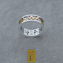 Masonic Ring with 14k Rose Gold and Silver