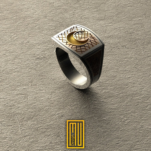 Golden Moon Ring with Finger Print