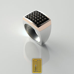 14k Rose Gold body and 30x Black Diamonds