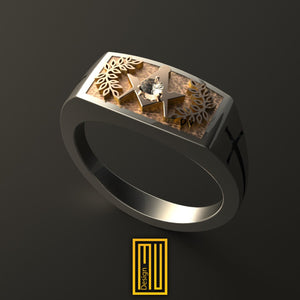Ring For Knights with 14k Rose Gold Top Face With Diamond