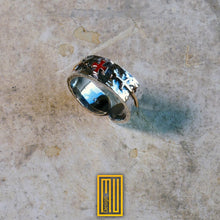 Ring for Knights of Templar side Swords and Enamelled Cross are 14k Rose Gold , Main Body Hammered 925k Sterling Silver