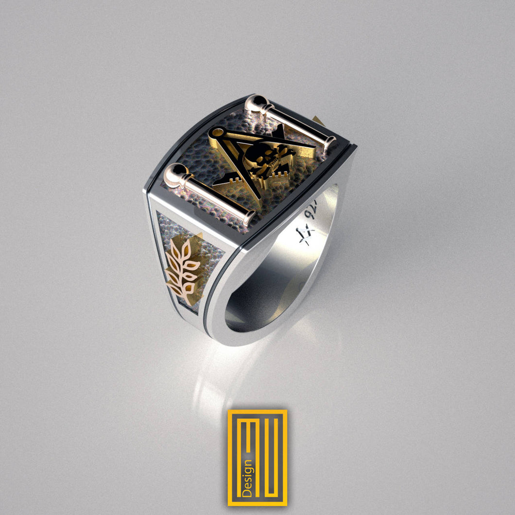 Masonic Ring With Skull On S&C