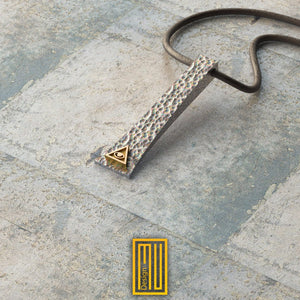 Masonic Necklace 925K Sterling Silver Hammered Effect with 14k Golden Symbols
