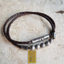 Bracelet 925K Solid Sterling Silver and Leather