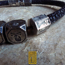 Masonic Bracelet 925K Solid Sterling Silver with Stingray Leather