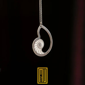 Nautilus sign Necklace with Golden Ratio  for Women 925K Sterling Silver
