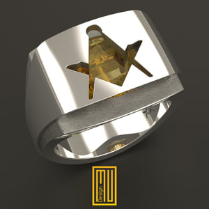 Masonic Ring with Amber Gemstone