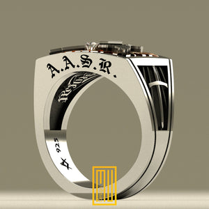AASR 32nd Degree Ring with Real Diamond